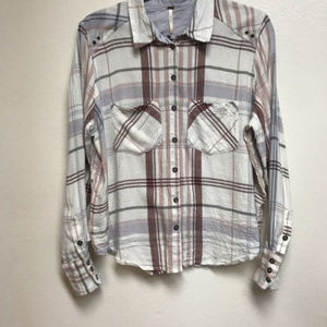 Free People Plaid Long Sleeve Button Down XS
